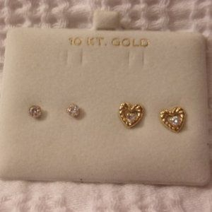 Jewelry - 10 KT Gold Pierced Stud Earrings Crystal Hearts